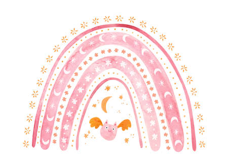 Pink Halloween rainbow with baby bat. Cute watercolor illustration for kids Halloween.