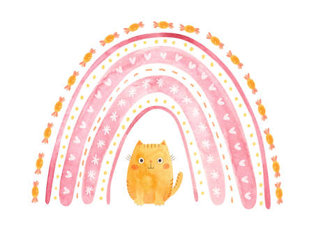 Pink rainbow with a plump ginger cat. Cute watercolor illustration.