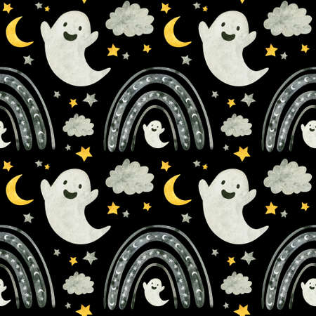 Halloween seamless pattern with cute ghosts and rainbows. Spooky digital scrapbooking paper on black background.