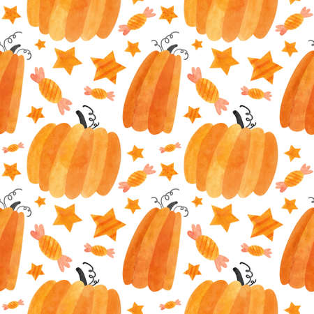 Halloween seamless pattern with orange pumpkins and sweets. Cute digital scrapbooking paper on white background.