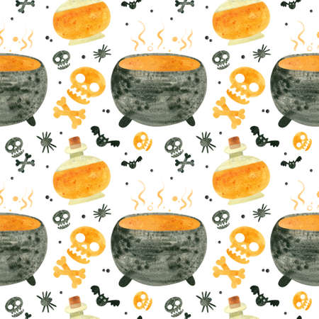 Halloween seamless pattern with orange skulls, cauldron and witch potions. Spooky digital scrapbooking paper on white background. Фото со стока