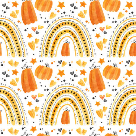Halloween seamless pattern with orange rainbows and pumpkins. Digital scrapbooking paper on white background.
