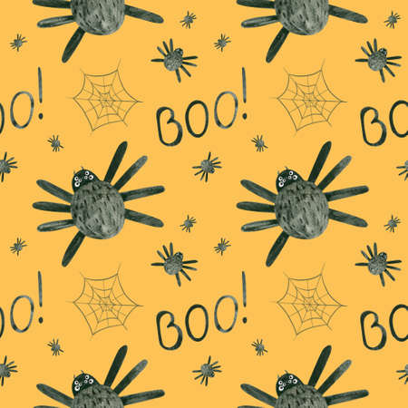 Halloween seamless pattern with spiders and cobwebs. Spooky digital scrapbooking paper on orange background.