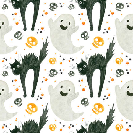 Halloween seamless pattern with a cute ghost, orange skulls of a frightened black cat.  Spooky digital scrapbooking paper on white background.