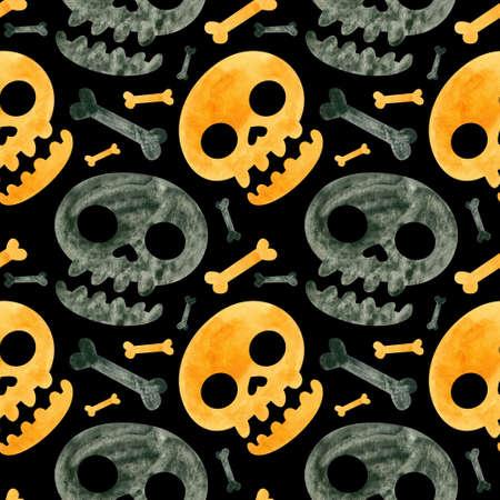 Halloween seamless pattern with orange and black skulls and bones. Spooky digital scrapbooking paper on black background. Фото со стока