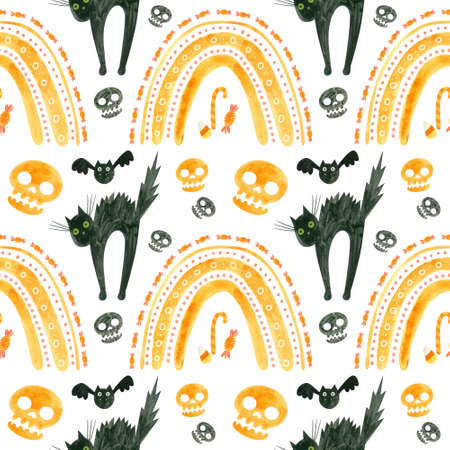 Halloween seamless pattern with orange skulls, bats, frightened black cat and rainbows. Spooky digital scrapbooking paper on white background.