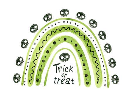 Green Halloween rainbow with black skulls and bones. Cute watercolor illustration for kids Halloween. Фото со стока