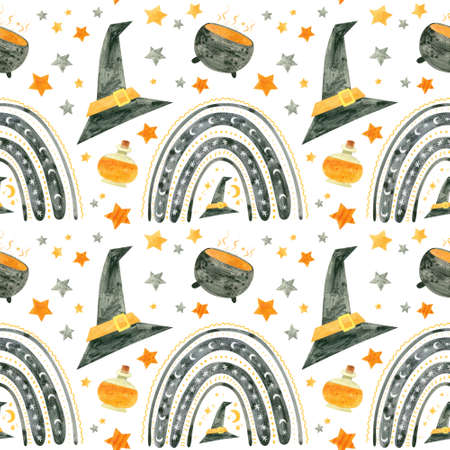 Halloween seamless pattern with black rainbows and witch cauldrons, orange potions and hats. Digital scrapbooking paper on white background. Фото со стока
