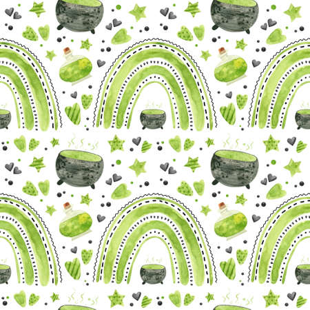 Halloween seamless pattern with green rainbows, potion and witchy cauldron. Spooky digital scrapbooking paper on white background.