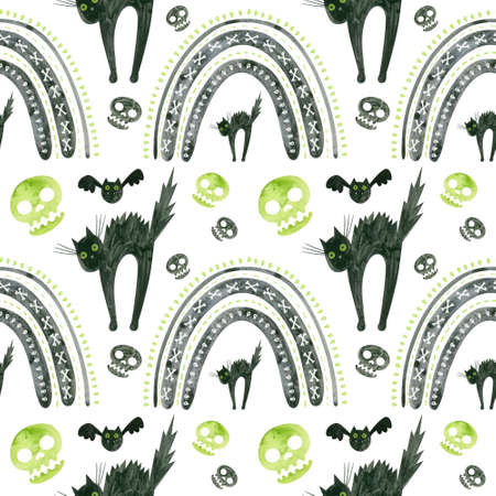 Halloween seamless pattern with green skulls, frightened black cat and rainbows. Spooky digital scrapbooking paper on white background.
