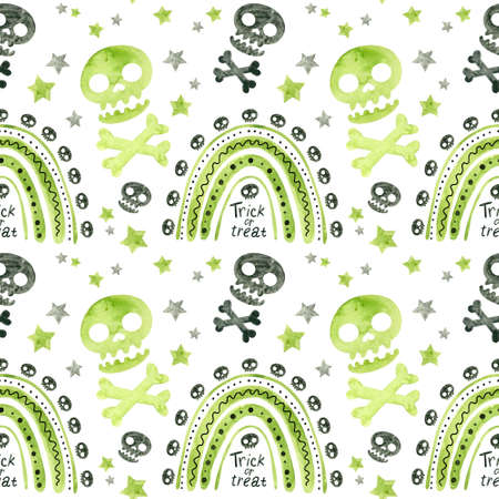 Halloween seamless pattern with green rainbows and skulls. Spooky digital scrapbooking paper on white background. Фото со стока