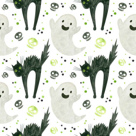 Halloween seamless pattern with a cute ghost, green skulls of a frightened black cat.  Spooky digital scrapbooking paper on white background.