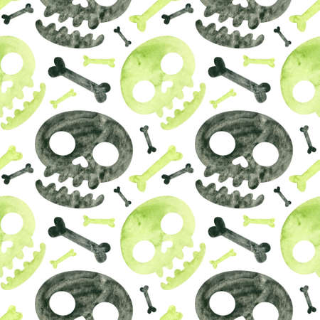 Halloween seamless pattern with green and black skulls and bones. Spooky digital scrapbooking paper on white background.