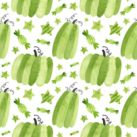 Halloween seamless pattern with green pumpkins and sweets. Spooky digital scrapbooking paper on white background. Фото со стока