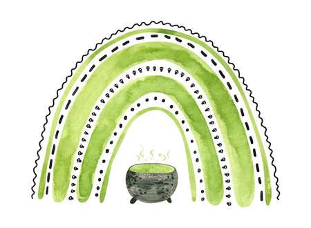 Green Halloween rainbow with witch cauldron. Cute watercolor illustration for kids Halloween. Фото со стока
