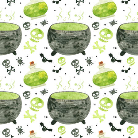 Halloween seamless pattern with green skulls, cauldron and witch potions. Spooky digital scrapbooking paper on white background.