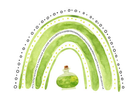 Green Halloween rainbow with witch potion. Cute watercolor illustration for kids Halloween. Фото со стока