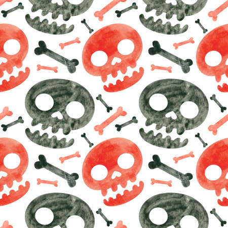 Halloween seamless pattern with red and black skulls and bones. Spooky digital scrapbooking paper on white background.