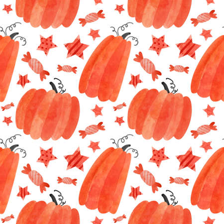 Halloween seamless pattern with red pumpkins and sweets. Spooky digital scrapbooking paper on white background. Фото со стока