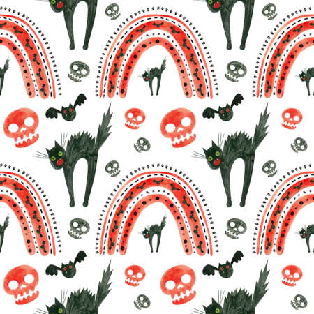 Halloween seamless pattern with red skulls, bats, frightened black cat and rainbows. Spooky digital scrapbooking paper on white background.