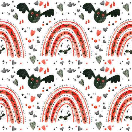 Halloween seamless pattern with red rainbows and bats. Spooky digital scrapbooking paper on white background.