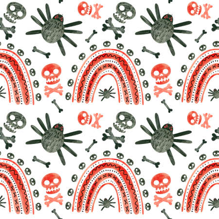 Halloween seamless pattern with red skulls, spiders, and rainbows. Spooky digital scrapbooking paper on white background.
