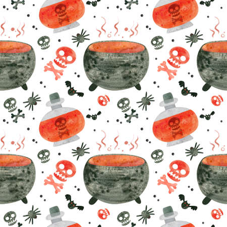 Halloween seamless pattern with red skulls, cauldron and witch potions. Spooky digital scrapbooking paper on white background.