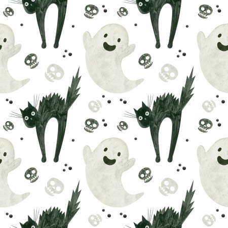 Halloween seamless pattern with a cute ghost, skulls of a frightened black cat.  Spooky digital scrapbooking paper on white background.