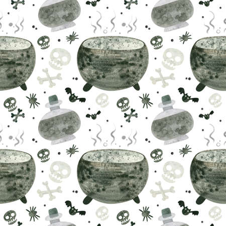 Halloween seamless pattern with skulls, cauldron and witch potions. Spooky digital scrapbooking paper on white background.