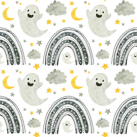 Halloween seamless pattern with cute ghosts and rainbows. Spooky digital scrapbooking paper on white background.