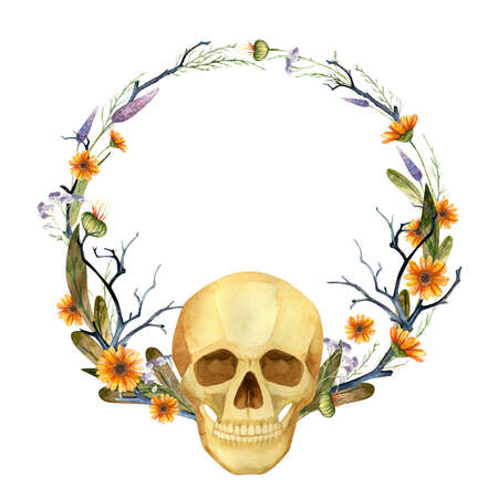 Halloween Party Invitation, Gothic floral wreath with skull. Watercolor clipart. Фото со стока