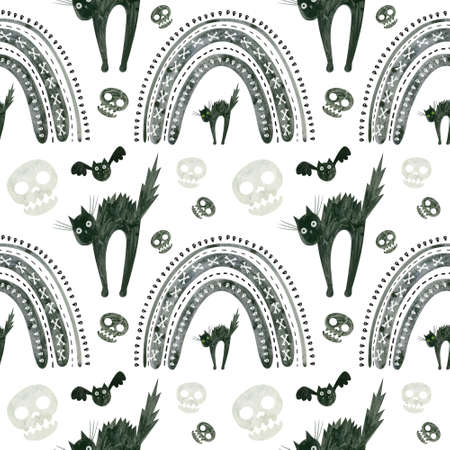 Halloween seamless pattern with skulls, frightened black cat and rainbows. Spooky digital scrapbooking paper on white background.