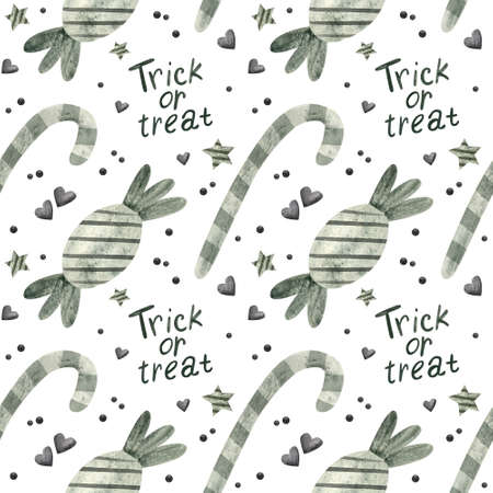 Halloween seamless pattern with sweets. Digital scrapbooking paper on white background.