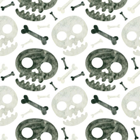 Halloween seamless pattern with skulls and bones. Spooky digital scrapbooking paper on white background. Фото со стока