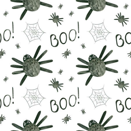 Halloween seamless pattern with watercolor spiders and cobwebs.  Spooky digital scrapbooking paper on white background. Фото со стока
