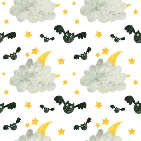 Halloween seamless pattern with cute bat and moon behind the clouds.  Spooky digital scrapbooking paper on white background.