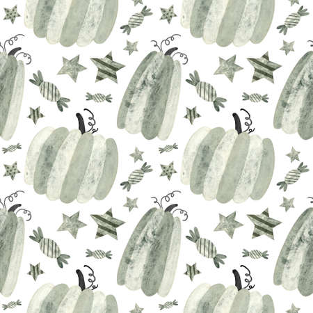 Halloween seamless pattern with pumpkins and sweets. Spooky digital scrapbooking paper on white background.