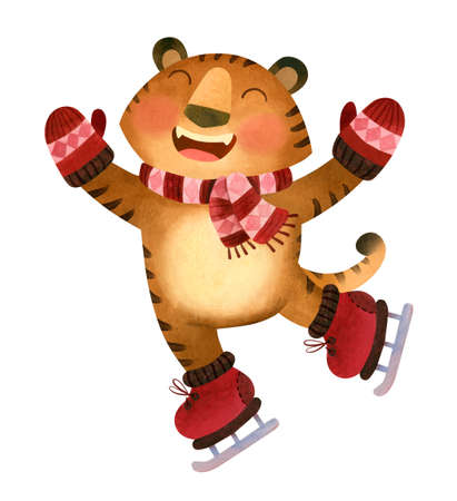 Happy Tiger in a scarf and mittens is skating. Ice rink mascot. The symbol of the new year 2022.