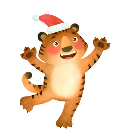 Happy tiger in a Santa hat. The symbol of the new year 2022.