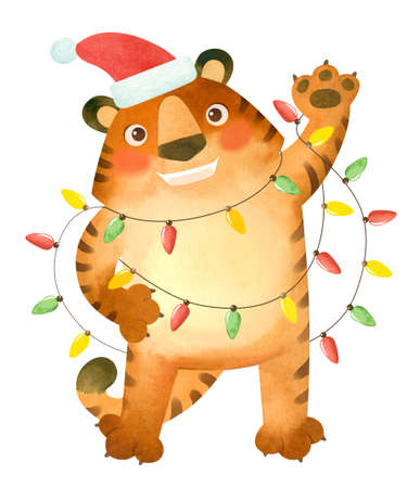 Tiger in a New Year's hat with garlands. The symbol of the new year 2022.