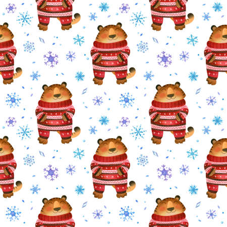 Tiger with warm Christmas pajamas, winter seamless pattern with snowflakes. The symbol of the new year 2022.