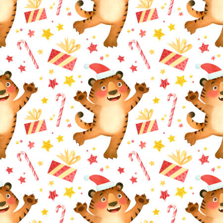 Tiger in a New Year's hat with gifts and Christmas items, seamless pattern. The symbol of the new year 2022.