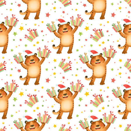 Seamless pattern, tigers in a Christmas hat with gifts. The symbol of the new year 2022.