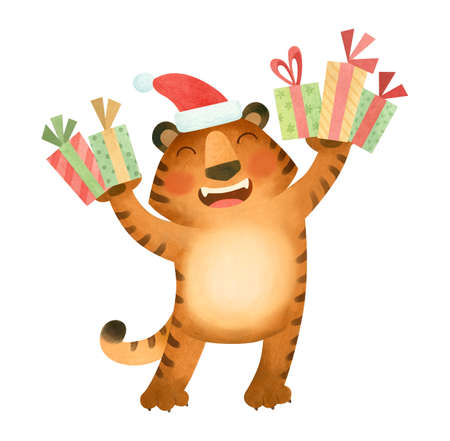 Tiger in a New Year's hat smiles and holds gifts. The symbol of the new year 2022. Фото со стока