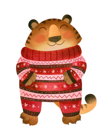 Happy Tiger in winter pajamas. The symbol of the new year 2022.