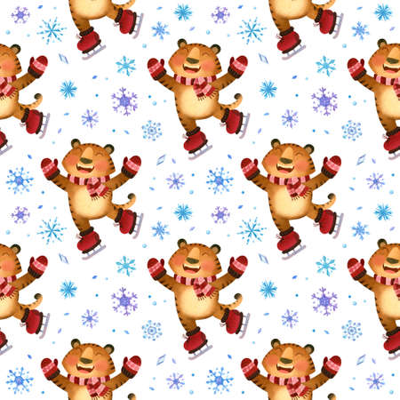 Tiger skates, winter seamless pattern with snowflakes. The symbol of the new year 2022.