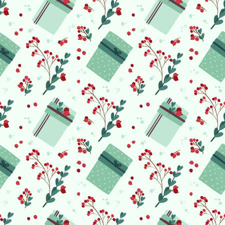 Holyday seamless pattern with winter plants and Christmas gift boxes. Traditional winter  botanic decor. Digital paper on light green  background