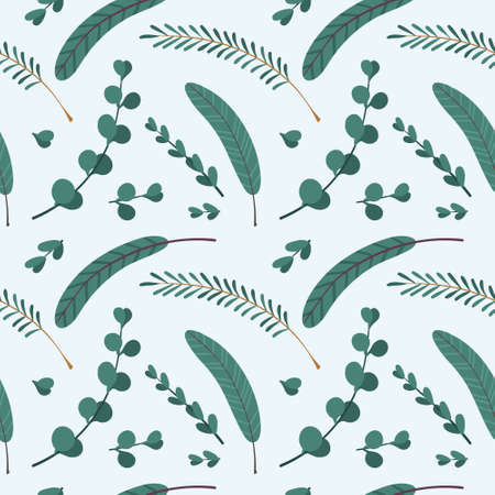 Christmas seamless pattern with spruce branches . Traditional winter season botanic decor.  Winter plants on light blue background