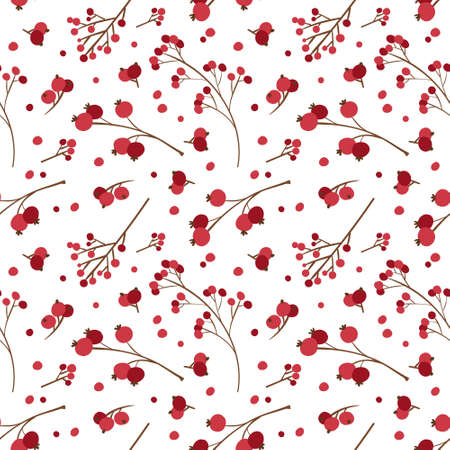 Christmas seamless pattern with winter berries. Traditional winter season botanic decor.  Red berries on white background