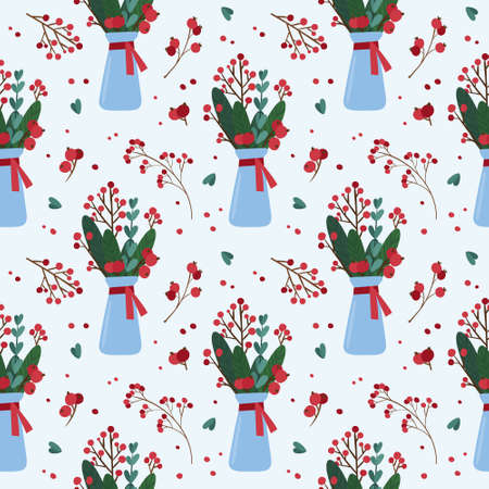 Christmas seamless pattern with winter plants in a vase. Traditional winter season botanic decor.  Green branches, red berries on light blue background